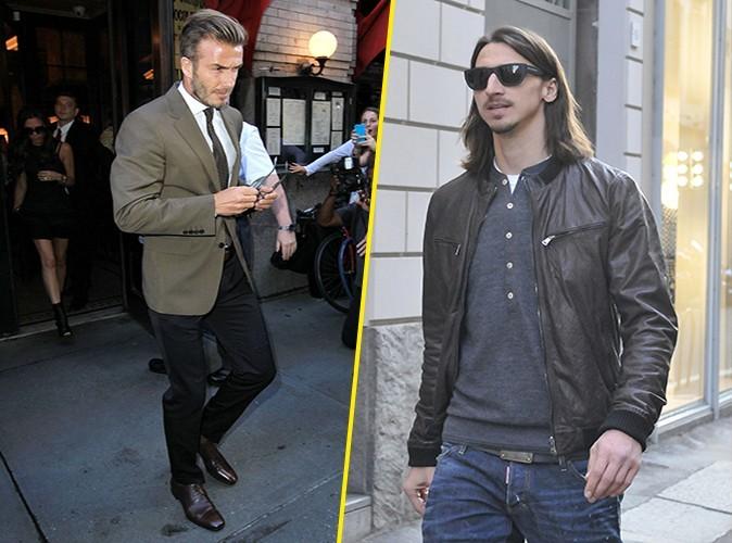 Haute couture pour David, casual chic pour Zlatan : petite hésitation, mais le point va à David, glamour sur le terrain comme dans la rue !
