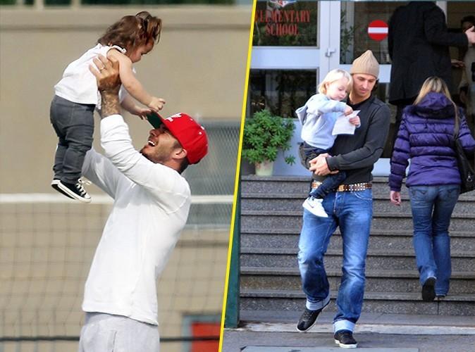 Papa poule : David profite le plus souvent possible de sa petite dernière, tandis que Zlatan emmène les siens lui-même à l'école ! Ex-aequo.