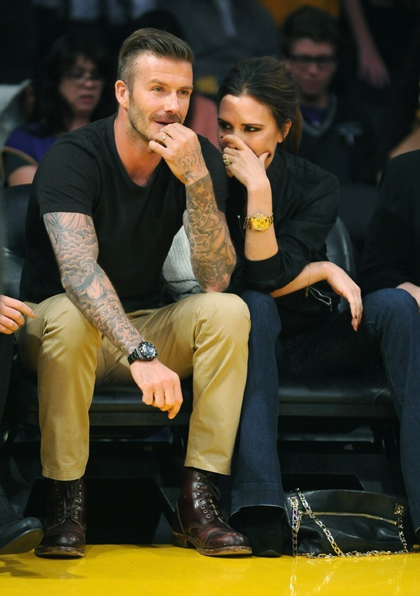 David et Victoria Beckham au match des Lakers le 1 er mai 2012