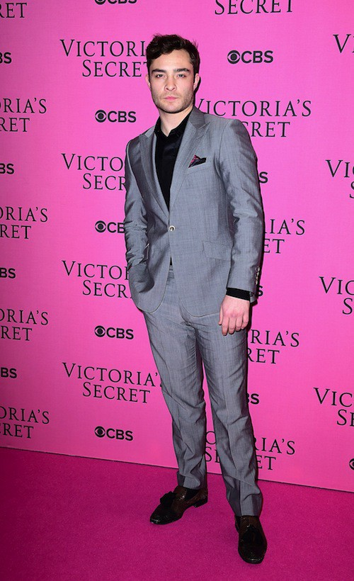 Ed Westwick avant le défilé Victoria's Secret 2014, le 2 décembre