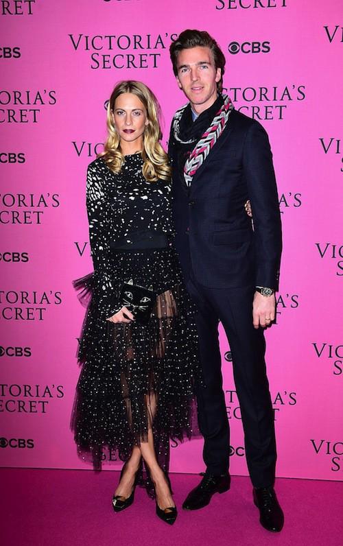 Poppy Delevingne et son mari avant le défilé Victoria's Secret 2014, le 2 décembre