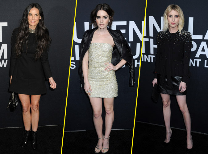 Demi Moore, Lilly Collins, Emma Roberts... les people du défilé Saint Laurent