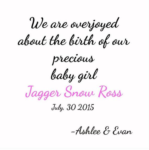 Le faire part de Jagger Snow Ross