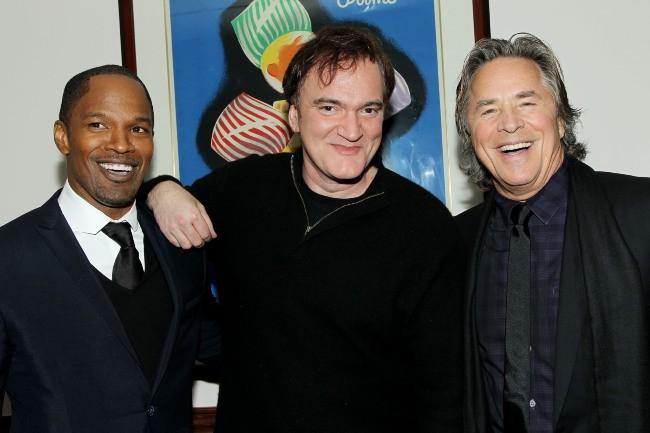Don Johnson avec Quentin Tarantino et Jamie Foxx le 11 décembre 2012 à New York