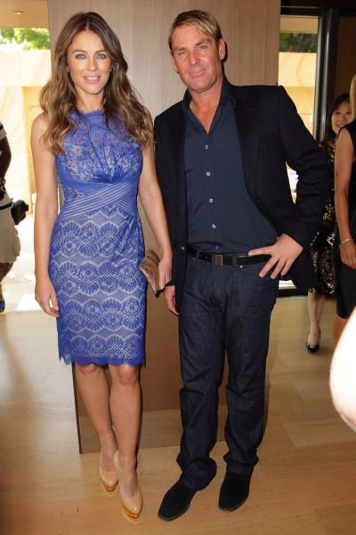Elizabeth Hurley et Shane Warne à Sydney, le 7 novembre 2013.