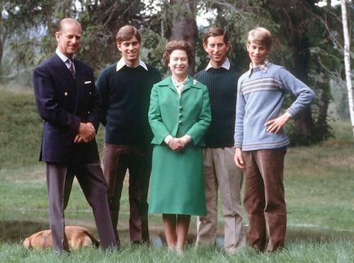 La reine, ses enfants, et son mari, en vacances en 1979