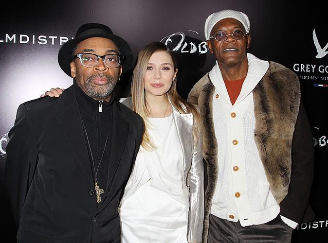 Spike Lee, Elizabeth Olsen et Samuel L. Jackson à New-York le 11 novembre 2013