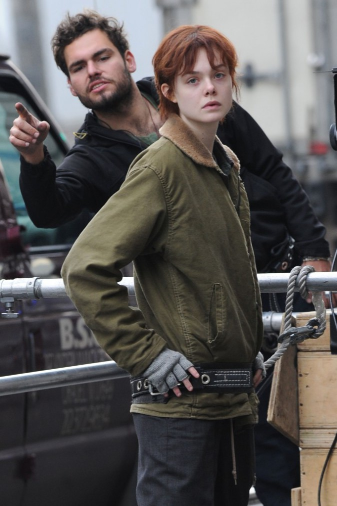 Elle Fanning sur le tournage de Three generations, le 11 novembre 2014 à New York