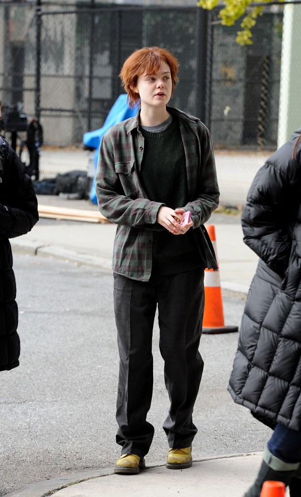 Elle Fanning sur le tournage de Three generations, le 11 novembre 2014 à New York