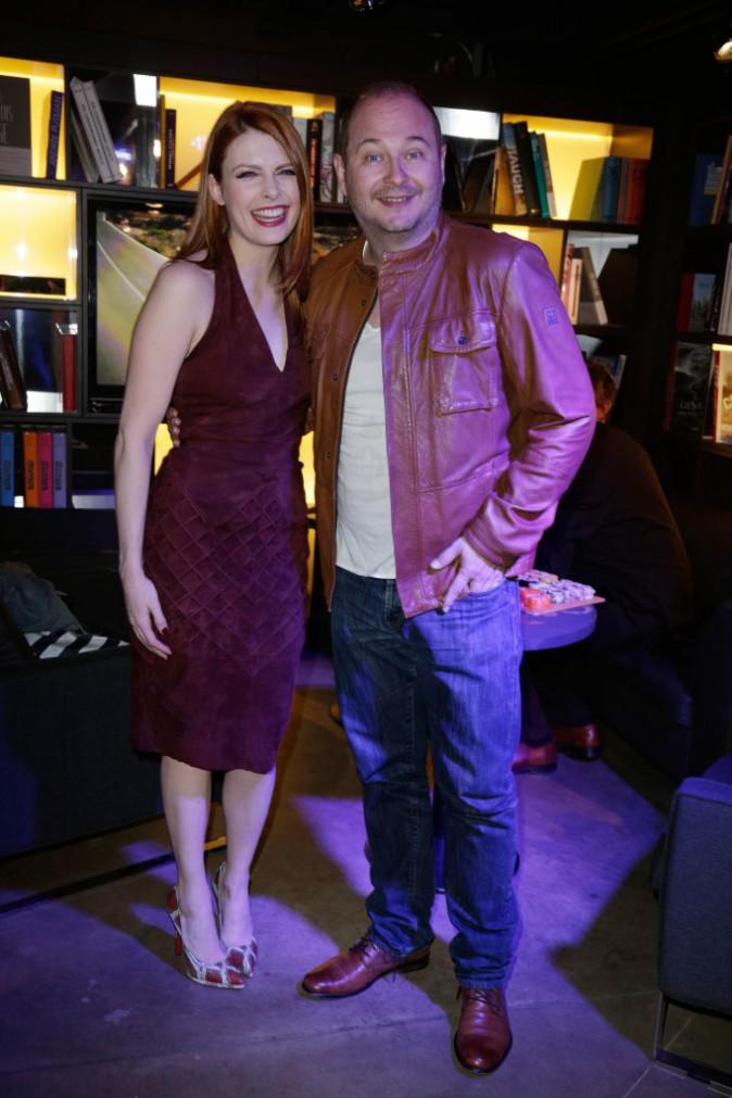 Elodie Frégé et Cauet lors de la soirée Mercedes Benz à Paris, le 11 mars 2014.