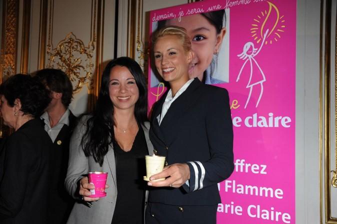 Elodie Gossuin et Anne-Gaelle Riccio lors de la conférence de presse de La Flamme Marie-Claire à Paris, le 02 mai 2011.