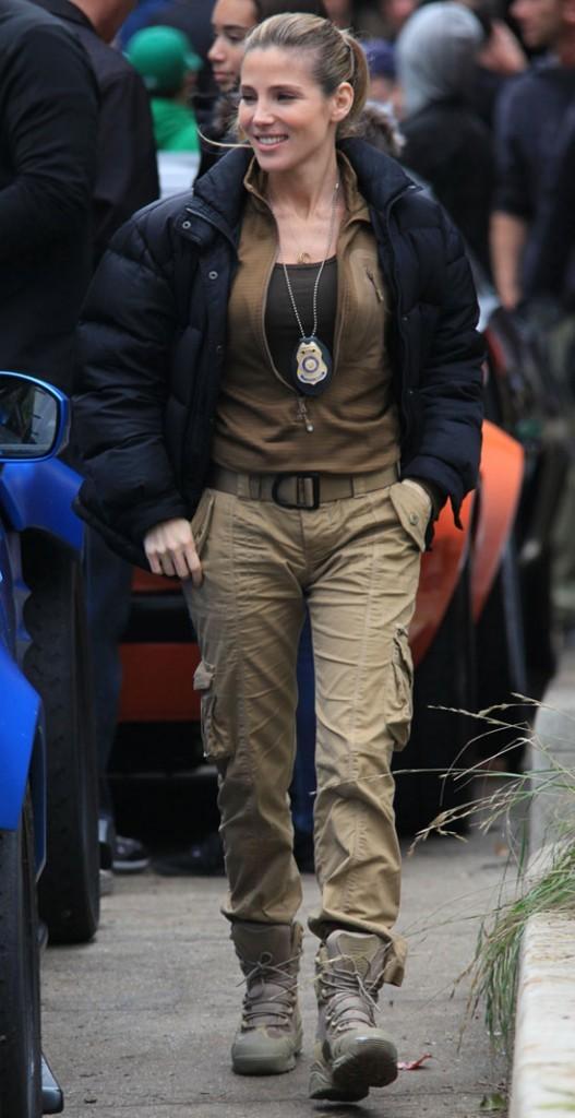 Elsa Pataki sur le tournage de Fast and Furious 6 à Los Angeles le 2 décembre 2012
