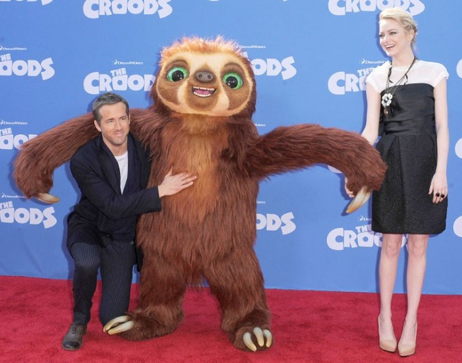 Ryan Reynolds et Emma Stone à l'avant-première de The Croods à New-York le 10 mars 2013