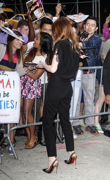 Emma Stone de passage au Daily Show, à New-York, le 17 juillet 2014