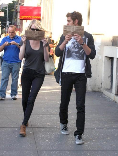 Emme Stone et Andrew Garfield, New York, 15 septembre 2012.