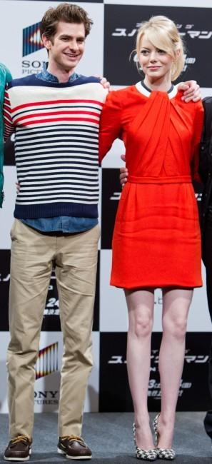 Emma Stone et Andrew Garfield lors du photocall de The Amazing Spider-man à Tokyo, le 13 juin 2012.