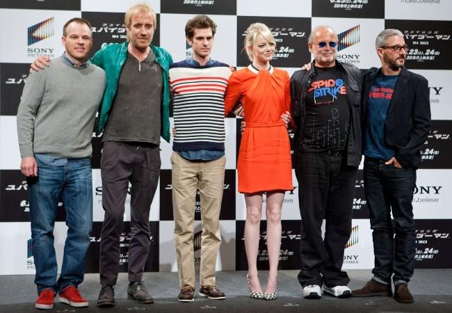 L'équipe du film The Amazing Spider-man à Tokyo, le 13 juin 2012.