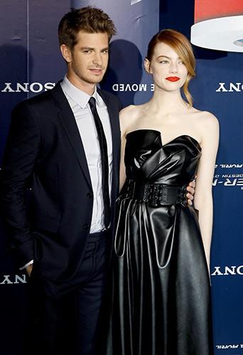 Andrew Garfield et Emma Stone à Paris le 11 avril 2014