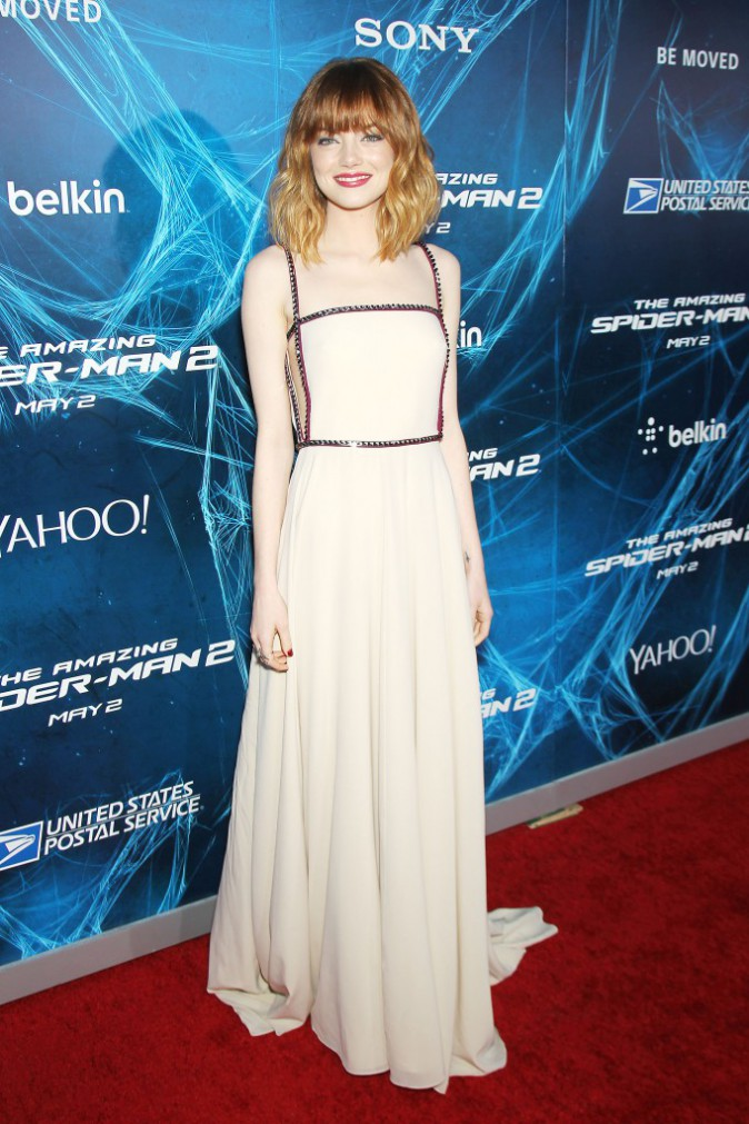 "Emma Stone lors de la première du film ""The Amazing Spider-Man 2"" à New York, le 24 avril 2014."