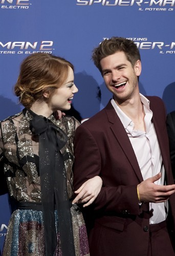 Emma Stone et Andrew Garfield à Rome le 14 avril 2014