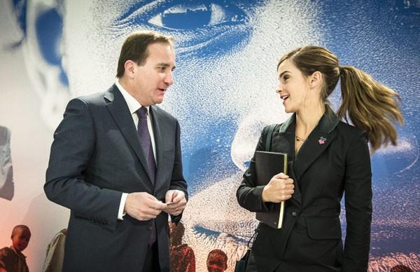 Emma Watson avec le Premier ministre suédois