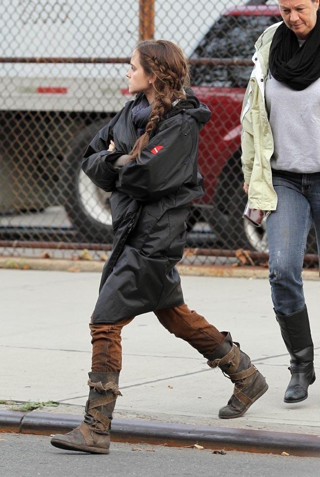 Emma Watson sur le tournage du film Noah à New-York le 17 octobre 2012