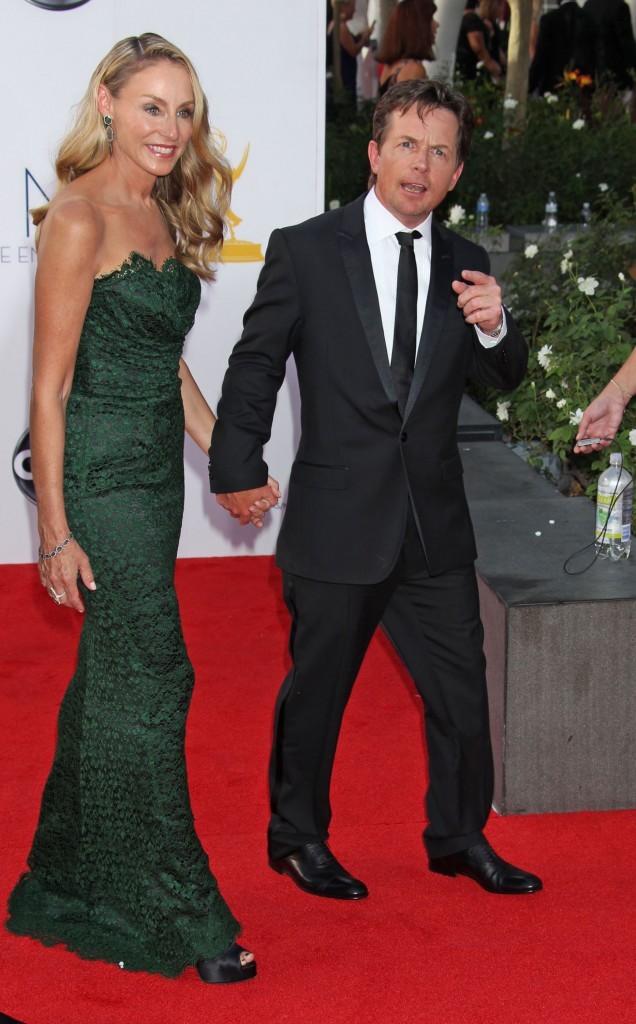 Michael J. Fox et Tracy Pollan lors des Emmy Awards à Los Angeles, le 23 septembre 2012.
