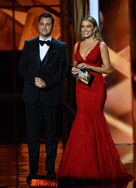 Jimmy Kimmel et Sofia Vergara lors de la cérémonie des Emmy Awards, le 22 septembre 2013.