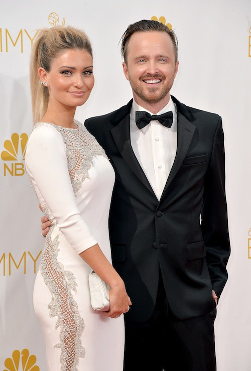 Aaron Paul (Breaking Bad) et Lauren Parsekian aux Emmy Awards 2014