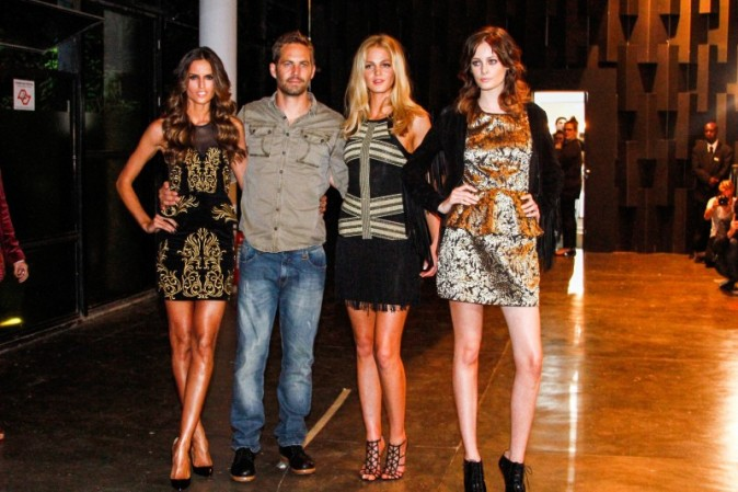 Izabel Goulart, Paul Walker, Erin Heatherton et Thairine Garcia lors de la soirée Colcci à Sao Paulo, le 21 mars 2013.