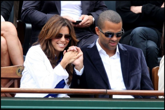 Eva Longoria et Tony Parker à Rolland Garros, le 7 juin 2009.