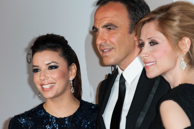 Eva Longoria, Nikos Aliagas et Lara Fabian le 13 mai 2013 à Paris