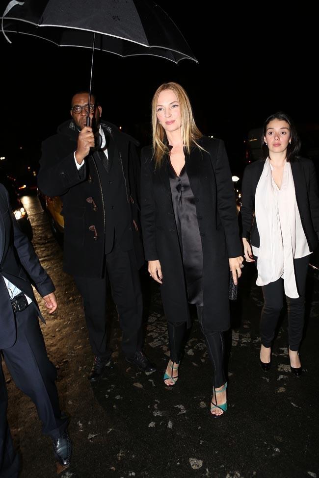 Uma Thurman au défilé Haute Couture Armani à Paris le 22 janvier 2013
