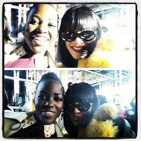 Lupita Nyong'o et Rihanna lors du défilé Miu Miu à Paris, le 5 mars 2014.