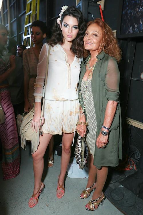 DVF et Kendall Jenner après le défilé Diane Von Fürstenberg printemps-été 2016 à New York, le 13 septembre 2015