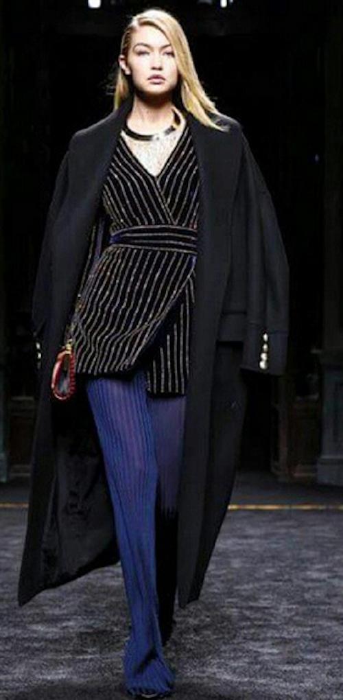 Gigi Hadid au défilé Balmain à Paris, le 5 mars 2015