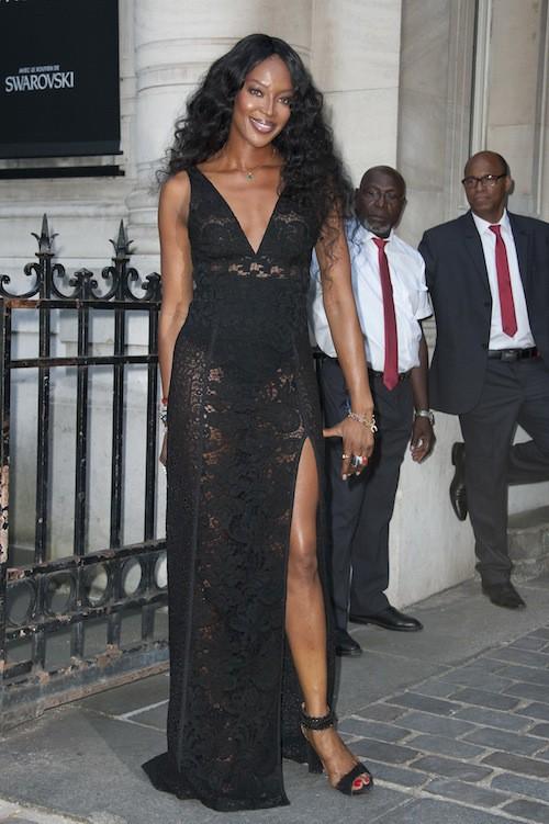 Naomi Campbell à la soirée Vogue pendant la Fashion Week Haute Couture de Paris, le 6 juillet 2015