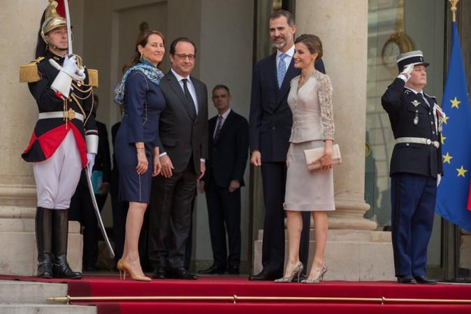 Felipe et Letizia d'Espagne, Ségolène Royal et François Hollande à l'Elysée le 2 juin 2015