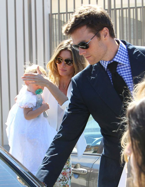 Tom Brady et Gisele Bündchen au baptême de leur fille Vivian organisé le 8 mars 2014 à Santa Monica