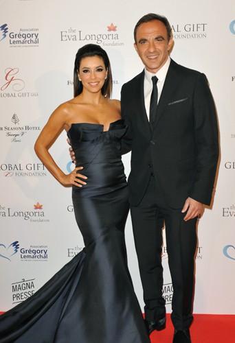 Eva Longoria et Nikos Aliagas à Paris le 12 mai 2014