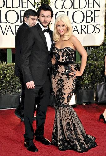Golden Globes 2011 : le couple de starsChristina Aguilera et Matthew D.Rutler