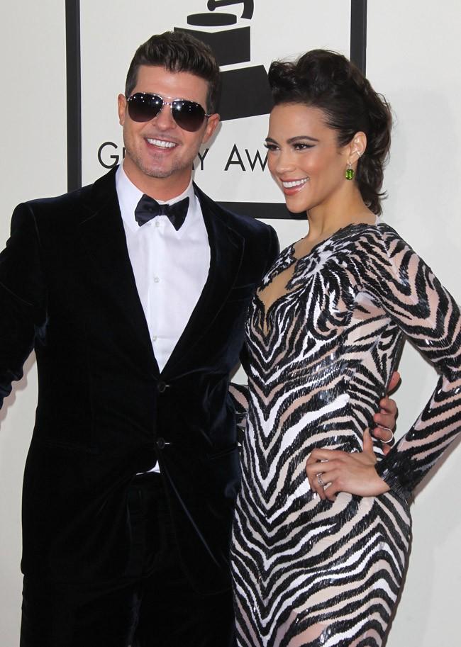 Robin Thicke et Paula Patton à la 56e cérémonie des Grammy Awards le 26 janvier 2014