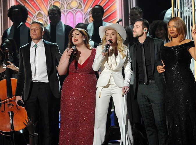 Macklemore, Mary Lambert, Madonna, Ryan Lewis et Queen Latifah à Los Angeles le 26 janvier 2014