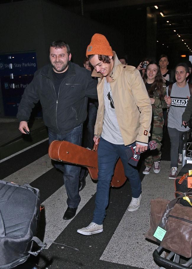Harry Styles après son débarquement à Londres le 7 janvier 2013