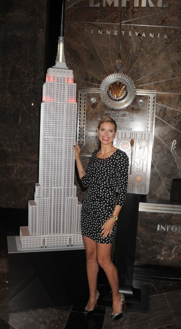 Heidi Klum à l'Empire State Building à New York, le 26 avril 2012.