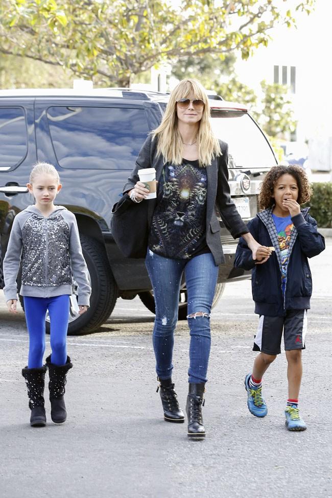 Heidi Klum avec ses enfants à Culver City le 2 février 2014