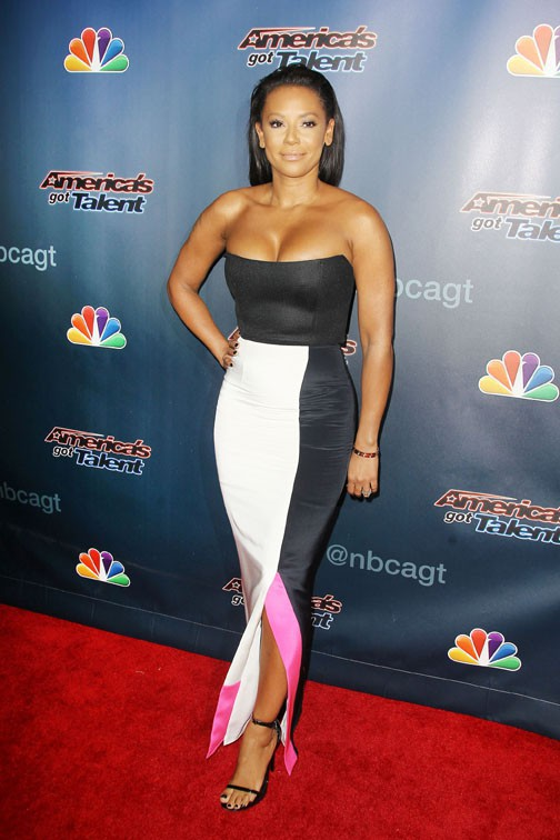 Mel B sur le tapis rouge d'America's Got Talent, à New-York, le 6 août 2014