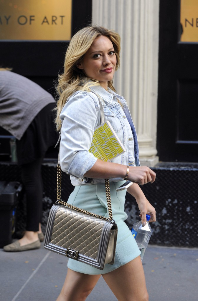 Hilary Duff en tournage à New York le 9 octobre 2014