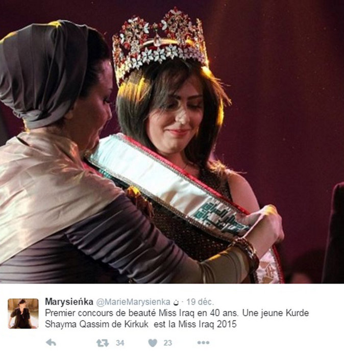 Shaymaa Qassim Abdelrahman, première Miss Irak depuis 43 ans !