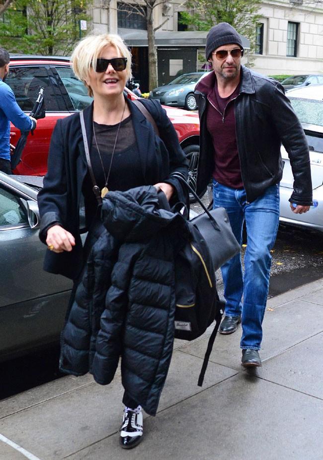 Hugh Jackman avec sa femme Deborra-Lee Furness à New-York le 23 novembre 2013